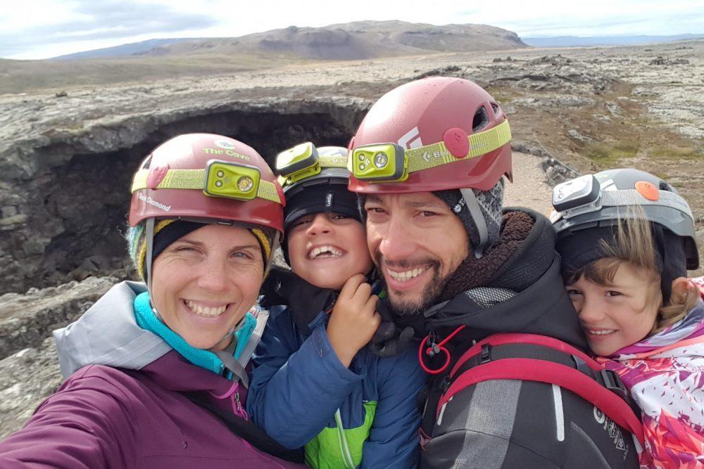 famille sur volcan islande