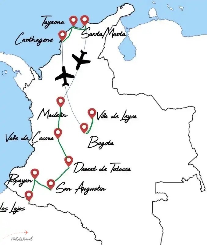 itinéraire 1 mois Colombie famille