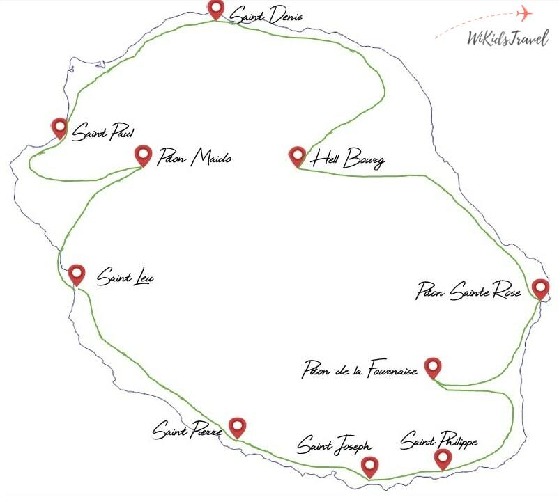 Carte Itinéraire 2 semaines reunion 2 enfants