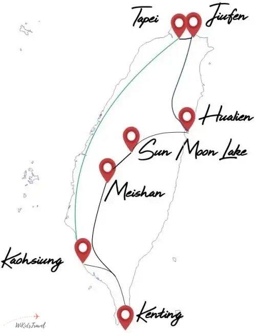 itinéraire 1 mois taiwan famille