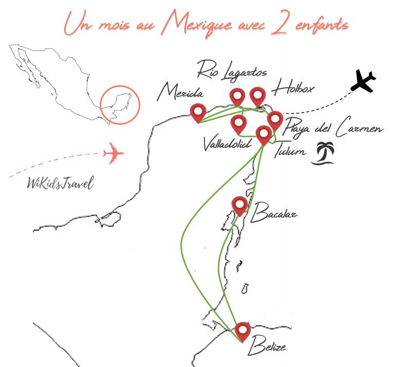 Voyage au Mexique avec 2 enfants carte itinéraire