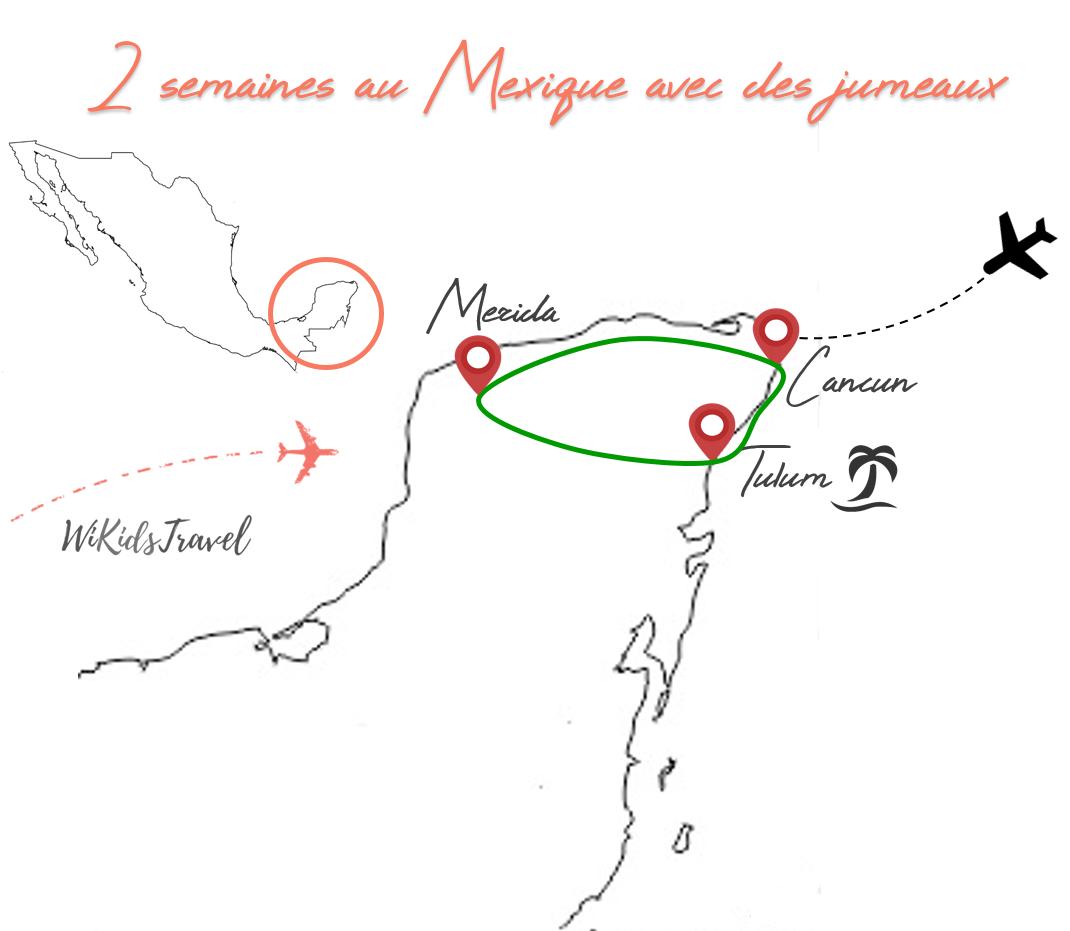 Voyage au Mexique en famille carte itinéraire 2 semaines Yucatan