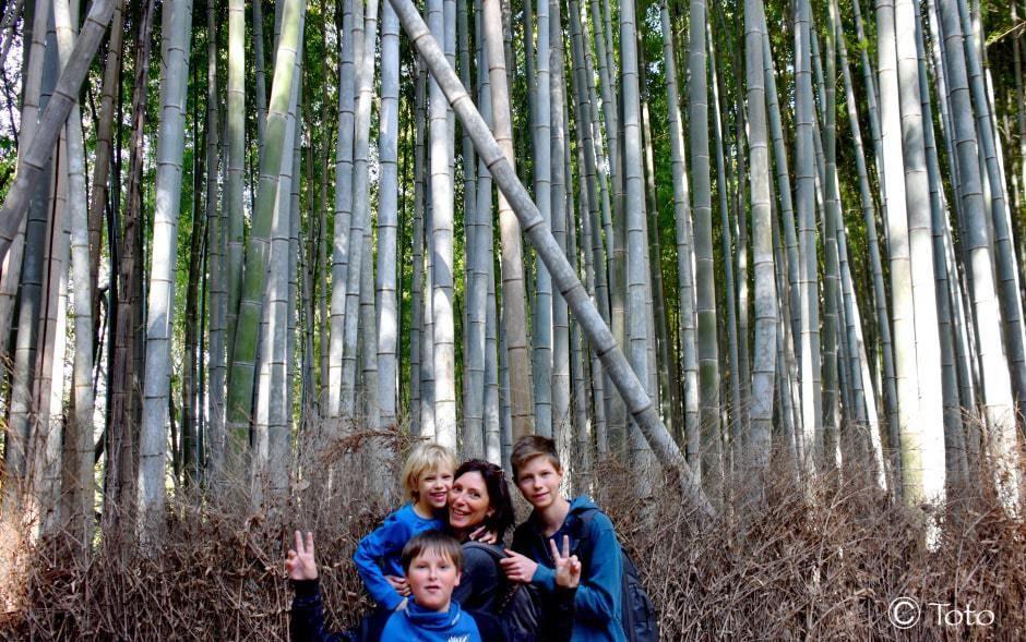 foret de bambous arashiyama avec famille devant