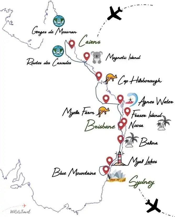 itinéraire 1 mois road trip cote est australie famille