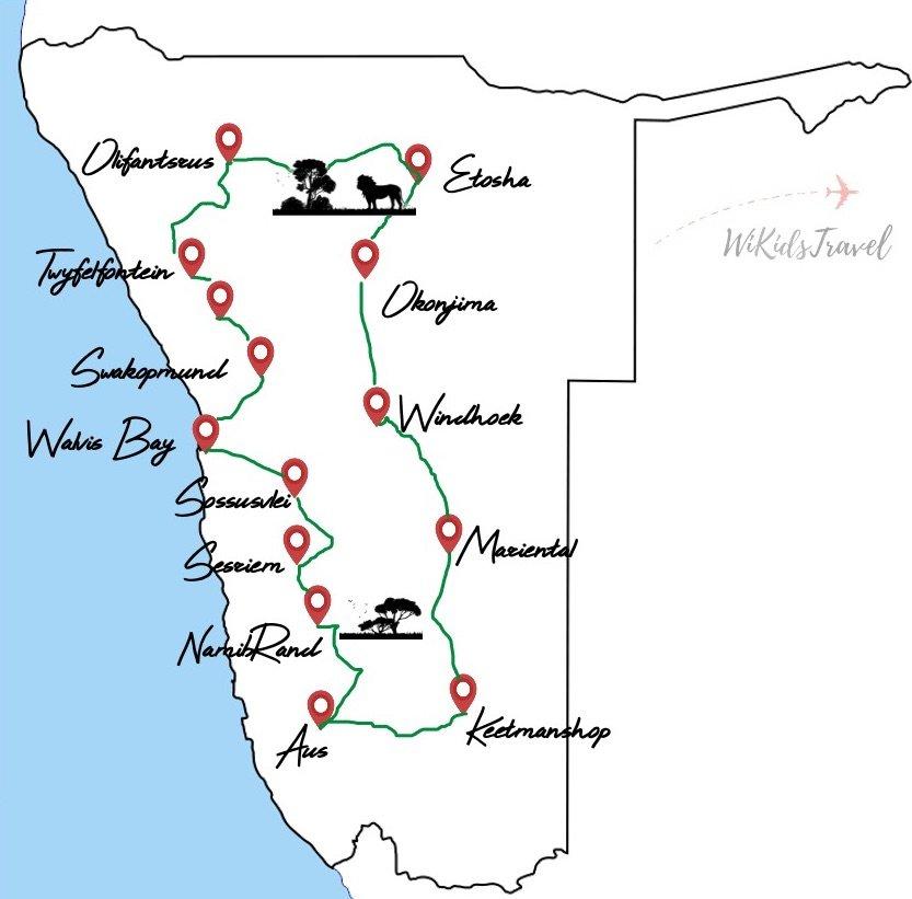 itinéraire en namibie 25 jours