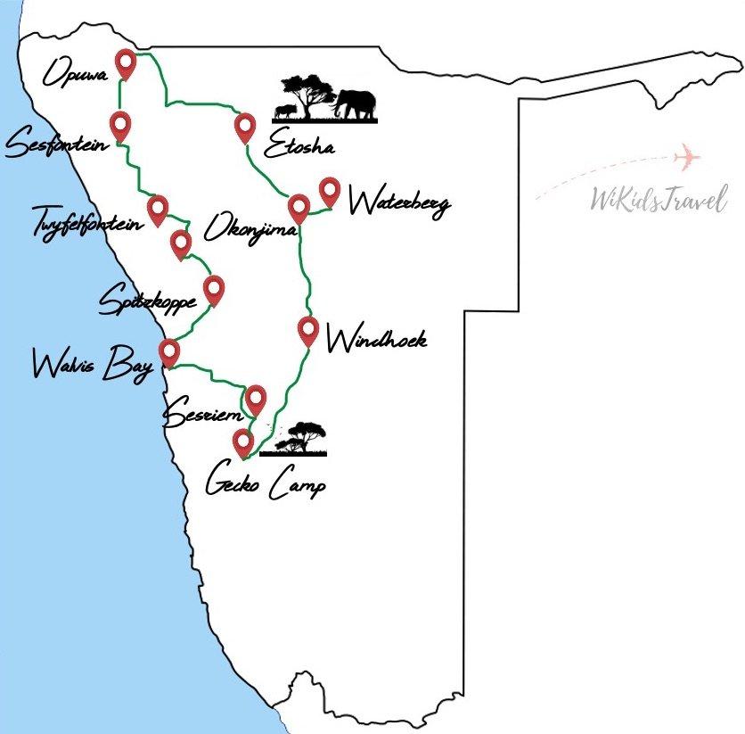 itineraire 1 mois en namibie en juillet
