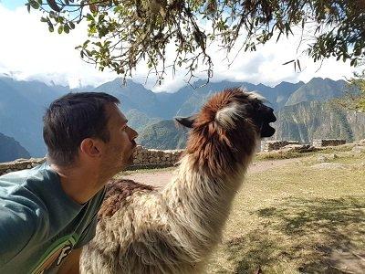 selfie avec un lama au machu picchu