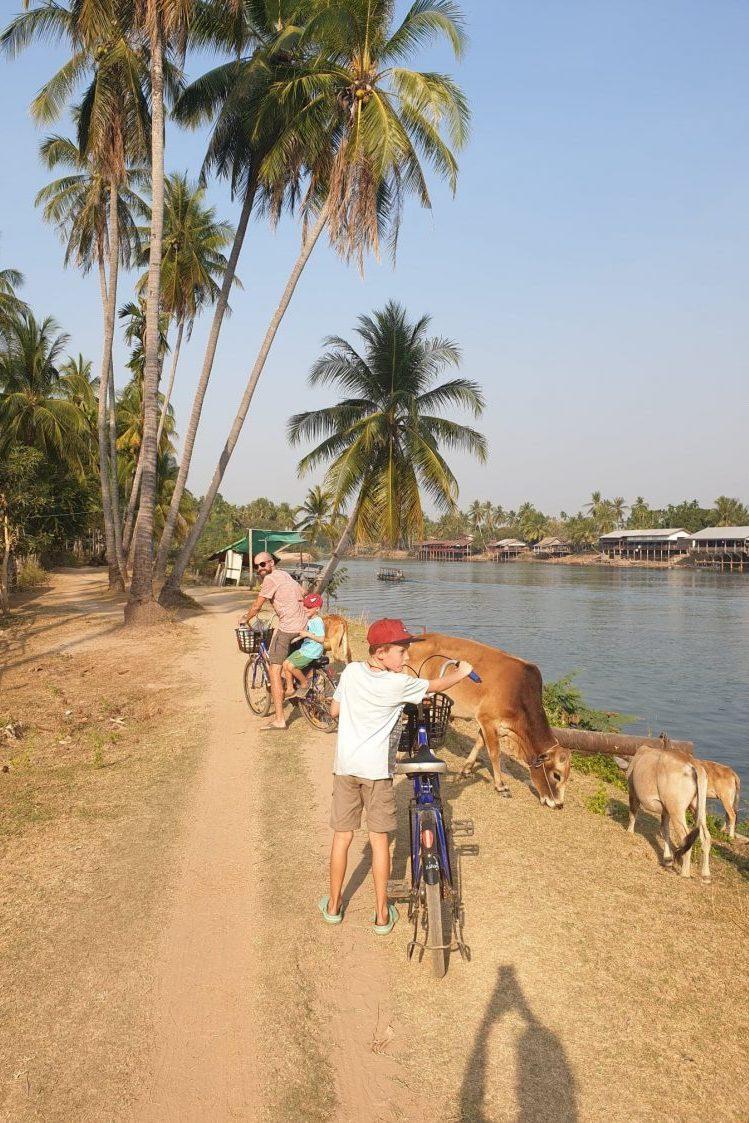 enfants en vélo 4000 iles au laos voyage en famille