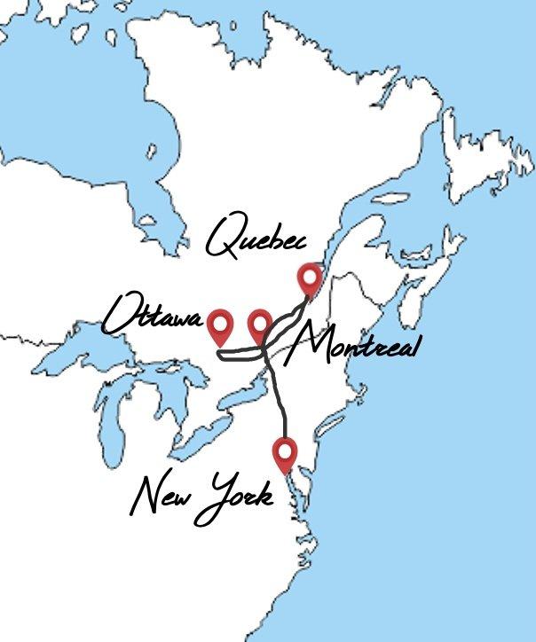 itinéraire 3 semaines NYC Quebec famille nombreuse