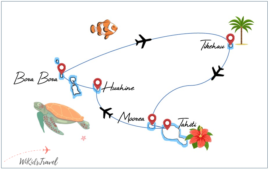 Itinéraire Polynésie A nous le tour 1 mois