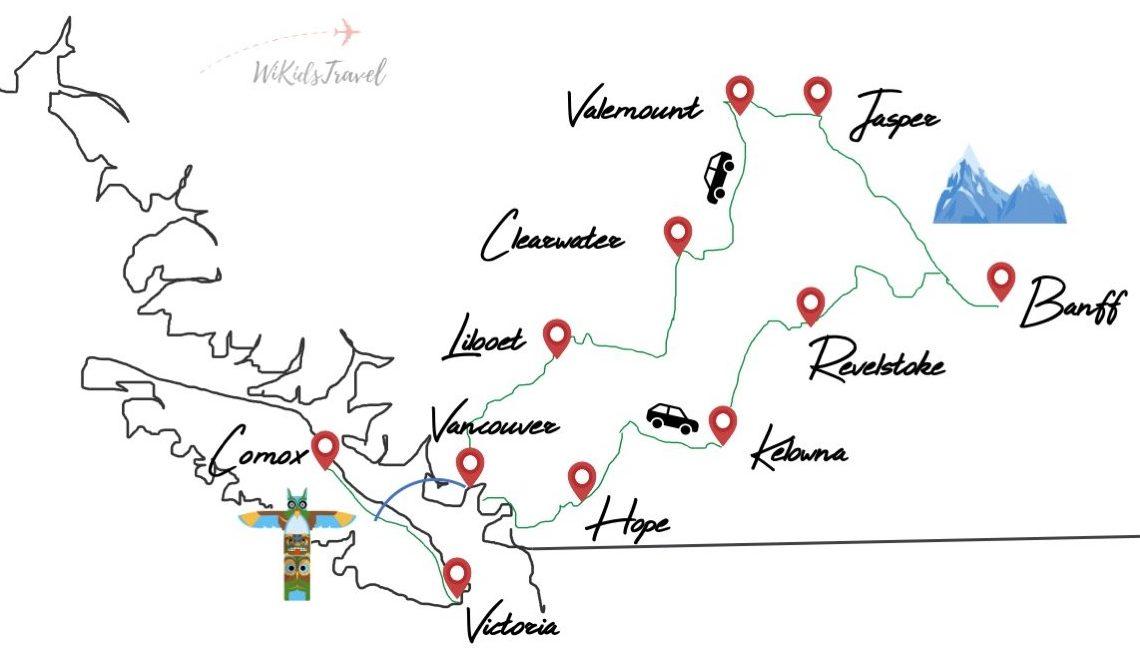 itinériaire 1 mois dans l'ouest canadien