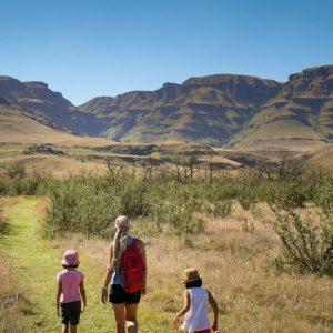 famille en randonnée dans la savane en afrique du sud