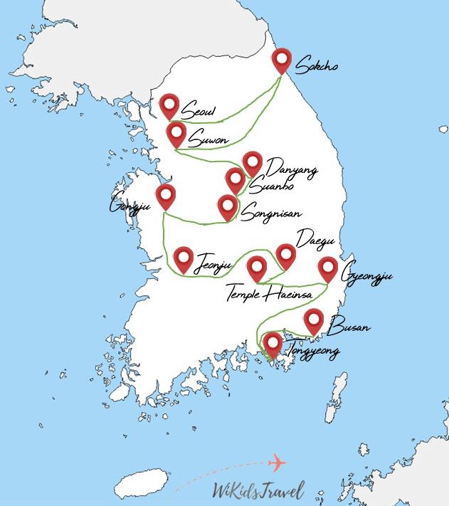 itinéraire 1 mois et demi corée du sud