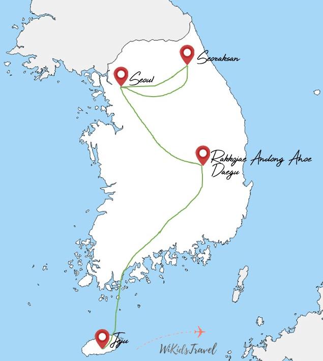 itinéraire corée du sud 6 semaine avec 1 ado