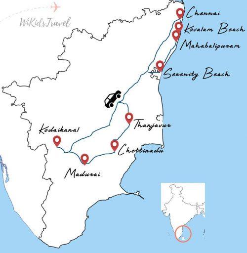 carte tamil nadu road trip famille