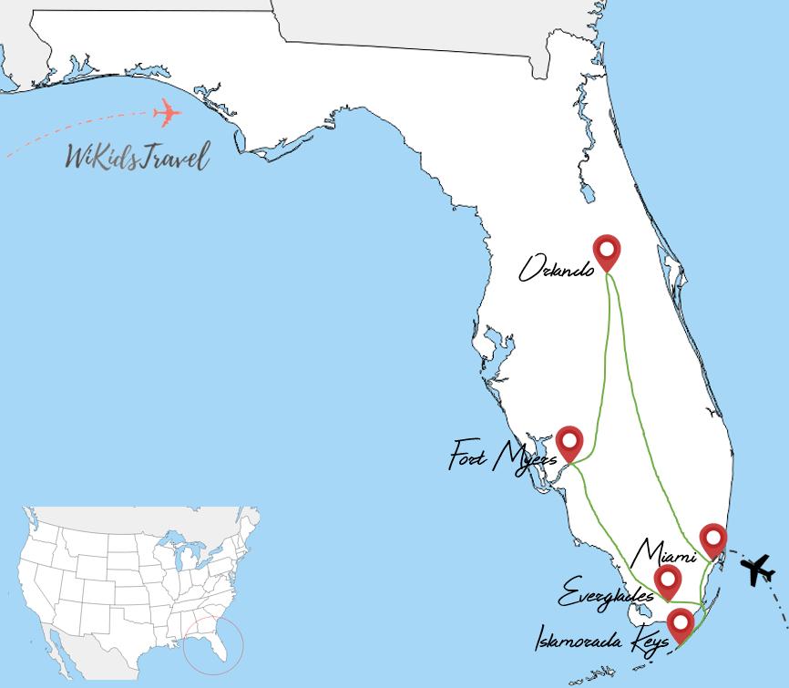 Itinéraire 2 semaine voyage en floride en famille