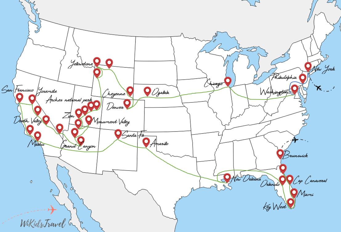 itinéraire 3 mois de voyage road-trip etats unis