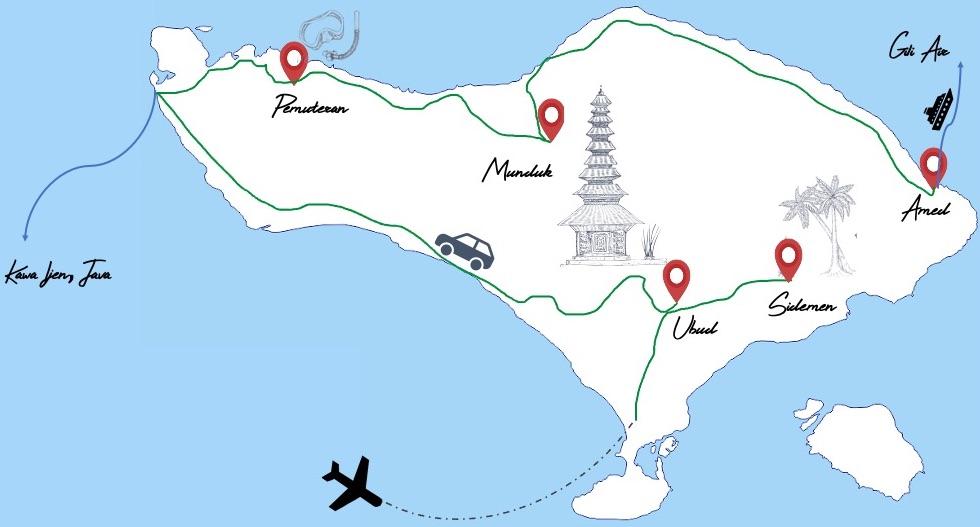 Notre itinéraire à Bali