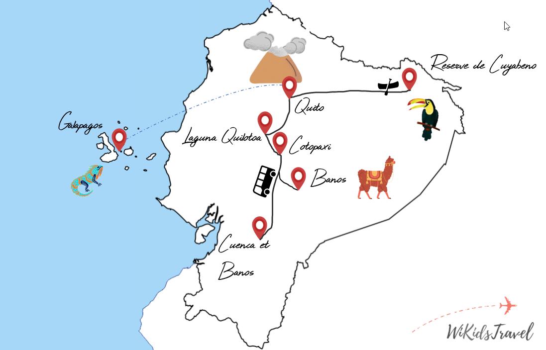 Itinéraire equateur 1 mois voyage famille