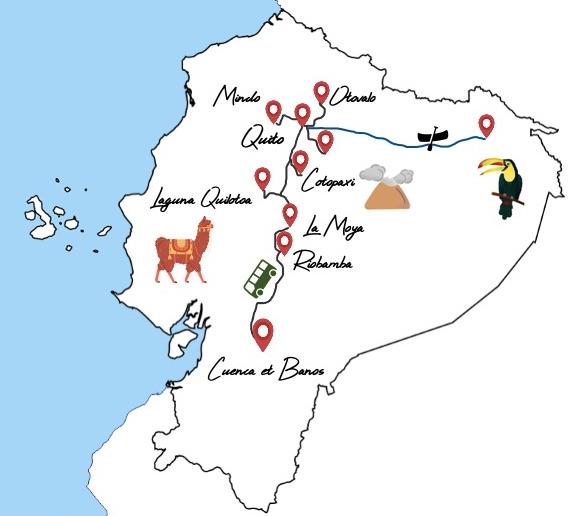 itinéraire equateur en bus en famille