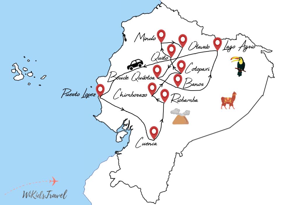 itinéraire road-trip equateur en camping en famille